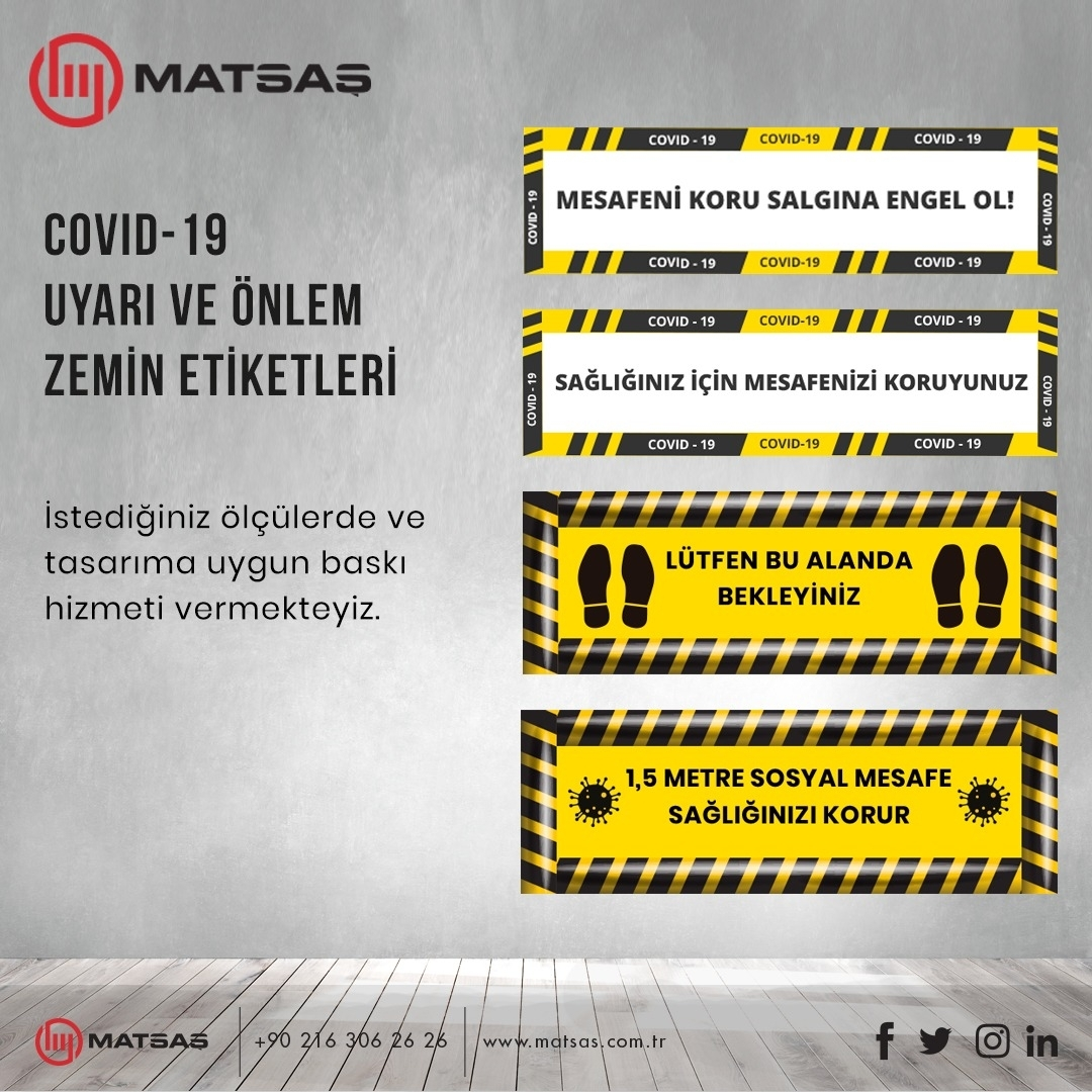 Covid-19 Warning and Precaution Floor Labels