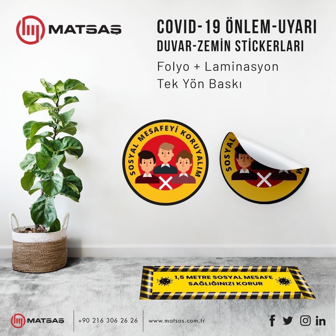 Covid-19 Warning-Precaution Stickers of Wall-Floor
